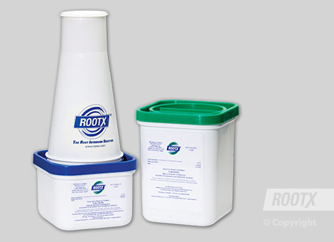 Step 1: Select Jar size and tools  Select the appropriate RootX Funnel Jar for use:       A 2 lb. jar will treat approximately 50ft. of 4-inch pipe     A 4 lb. jar will treat approximately 100ft. of 4-inch pipe, or 75ft. of 6-inch pipe